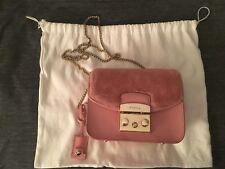 Furla Metropolis Mini Crossbody bag Pink Fur flap Authentic