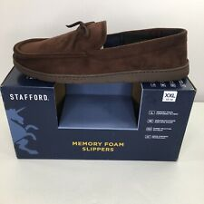Stafford Brown Moccasin Memory Foam Slippers Size XXL 13/14 Mens Indoor Outdoor