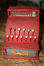 Vtg 1950's Red Kids Tom Thumb Toy Cash Register Tin Metal Western Stamping Co