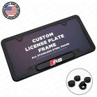 Black Stainless Steel Front Rear Rs Sport Emblem License Plate Frame Cover Gift