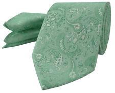 Mint Green Mens Tie Handkerchief Set Silk Floral Pocket Square Napkin Hanky