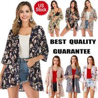 US Women's Cotton Kimono Cardigan Chiffon 3/4 Sleeve Casual Bikini Cover up Tops