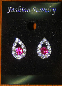 Silver Tone Clear and Pink Crystal Droplet Stud Earrings