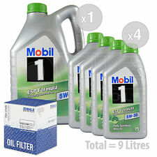 Engine Oil and Filter Service Kit 9 LITRES Mobil 1 ESP 5W-30 Fully Synth 9L
