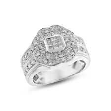 1.50 Ct. Natural Fine Diamond Huge Cocktail Fashion Ring in Solid 14k White Gold