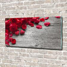 Glas-Bild Wandbilder Druck auf Glas 140x70 Deko Blumen & Pflanzen Rote Rosen