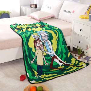 "59""X47""Anime Rick And Morty Cartoons Soft Warm Coral Fleece Blanket Rug Plush HW"