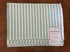 Mod Threads Cotton Stripe Crochet Placemats Turquoise/White (Set of 4)
