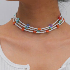 Bohemian Handmade Beaded Daisy Flower Clavicle Choker Necklace Women Jewelry Fb
