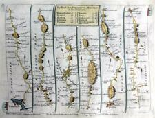 ROAD MAP BY JOHN SENEX c1762 HAND COLOUR  DARTMOUTH DEVON / WALES  ST DAVIDS