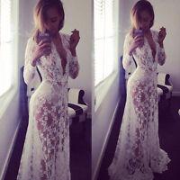 BodenLang StrandKleid Spitzenkleid Maxi Kleid Weiß-Sommer Boho langeSpitzeKleid!