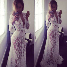 BodenLang Spitzenkleid StrandKleid Maxi Kleid Wei�ŸSommer Boho lange SpitzeKleid;