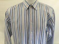 Paul Fredrick Mens Dress Shirt Long Sleeve Multi Color Striped  Cotton 171/2-34