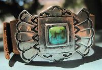 Supple Leather & Natural Turquoise Cuff Bracelet