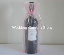 12 Quality pink Organza Bags - Bottle/Wine bags,Gift bags 6x14""