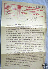 TITANIC Letter Trade Union Workers Ship Yard Emphemera Vintage Old Antique UK