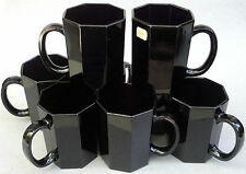 Arcoroc Tall Coffee Mug Lot of 4 Cups Octime Shanghai Black Glass 8oz France Vtg