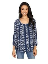 NWT Womens Lucky Brand Blue/White Print Lace Inset Knit Shirt Top Sz M Medium