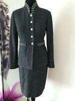 St John Black White Stitch Button Blazer Pencil Skirt Suit Wool Blend sz 10 YJ01
