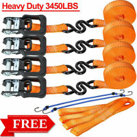 4 Pk 15ft x1.25in Ratchet Strap Tie Downs Soft Loop Strap 3,450lb Break Strength