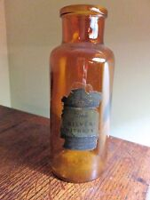 Dearborn Chemical Chicago Antique Brown Glass Silver Nitrate old bottle 7 1/2""
