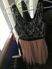 Champagne Pink and Black Homecoming Dress