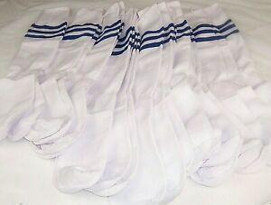 "13 Pairs Soccer Athletic Socks. Blue Stripe. 20"". Men's Size 6-9"