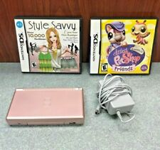 Nintendo DS Lite Metallic Rose Gold Pink Handheld System w/charger and games