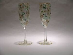 Dogwood Flower Hand Painted Champagne Flutes Set of 2 by Artful Entertaining