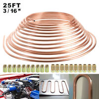 "25ft 3/16"" Copper Brake Pipe with 20pc 10mm Fittings Male+Female Nuts Unions UK"