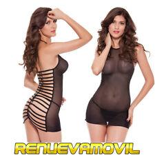 Lenceria Sexy Ropa intima Negra Tanga Vestido Corto Transparente Envio España