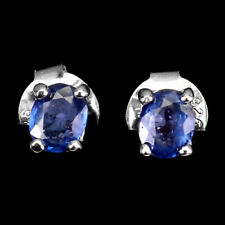 Heated Oval Blue Sapphire 5x4mm White Gold Plate 925 Sterling Silver Earrings