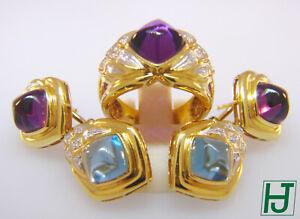 Brand New Amethyst, Topaz, Diamonds Earrings & Ring Set in 18k Yellow Gold