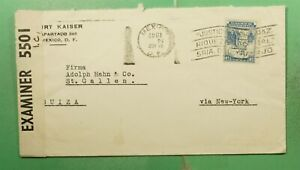 DR WHO 1942 MEXICO SLOGAN CANCEL TO SWITZERLAND WWII CENSORED g14950