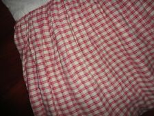 "TAYLOR LINENS DARK PINK & CREAM PLAID RUFFLED QUEEN BEDSKIRT 17"" SPLIT CORNER"