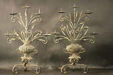 Antique Iron And Tin Potted Urn With Flowers leaves candelabra Candlestick