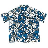 Blue Planet Hawaiian Men's Blue Floral Shirt Button Down XL Aloha Short Sleeve
