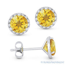 1.67 ct Round Cut Citrine & Diamond Martini Halo Stud Earrings in 14k White Gold