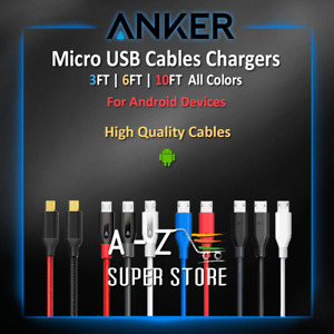 Anker Micro USB Android Cable Charger 3FT 6FT 10FT HTC lot Fast Charge All Color