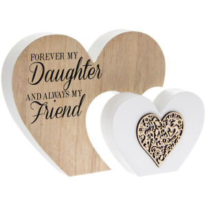FOREVER MY DAUGHTER ALWAYS MY FRIEND Double Wooden Heart Sentiment Plaque