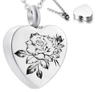 RoseRemembranceHeart Silver Cremation Ashes Urn Necklace Keepsake FuneralUK