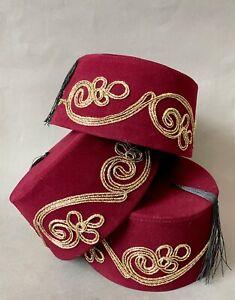 Burgundy Fez Hat, Genuine & Authentic Turkish Fes, Ottoman Tarboosh w Gold Trim