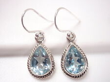 Blue Topaz Faceted Teardrop 925 Sterling Silver Dangle Earrings