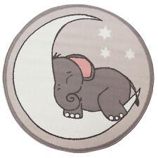 Kids Trendy Grey Cream Bedroom Rug Soft Affordable Circle Elephant Nursey Rugs