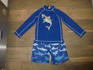 Gymboree blue shark swim trunk shorts with matching rash guard swim set size 5