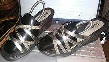 💯✨😊SKECHERS Rumblers sz 9 Pretty Pewter Comfy Strappy Slide Style Wedge Sandal