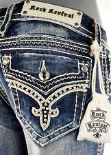 "$180 Rock Revival Womens Jean ""Donna"" Swarovski Crystals Boot Cut 26 X 33"