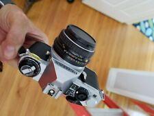 Pentax ME Super 35mm SLR Film Camera with lens kit, flash, instructions, bag
