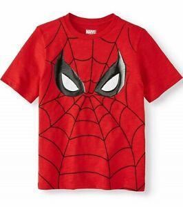 "NEW Marvel Spider-Man ""Big Spidey Face"" Red Web Short Sleeve Tee T-Shirt Kids"