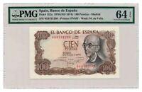 SPAIN banknote 100 PESETAS 1970. PMG MS-64 EPQ